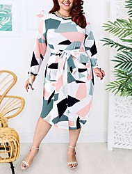 cheap -Women's A-Line Dress Knee Length Dress - Long Sleeve Geometric Patchwork Print Summer Casual 2020 White XL XXL 3XL 4XL