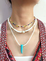 cheap -Women's Pendant Necklace Beaded Necklace Handmade Simple Luxury Ethnic Sweet Pearl Silicone Glass White 50 cm Necklace Jewelry 3pcs For Gift Prom Street Beach Festival / Pearl Necklace