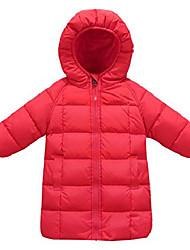 cheap -boys hooded coat long sleeve elastic cuff warm winter down zipper up outerwear 5-6t brown
