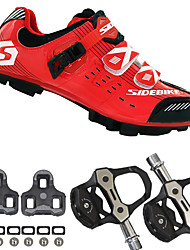 cheap -SIDEBIKE Adults' Cycling Shoes With Pedals & Cleats Mountain Bike Shoes Carbon Fiber Cushioning Cycling Red / black Men's Cycling Shoes / Breathable Mesh