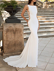cheap -Mermaid / Trumpet Wedding Dresses Jewel Neck Sweep / Brush Train Stretch Satin Sleeveless Country with Appliques 2020