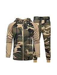 billige -menns casual treningsdrakt sett med langermet jogging, jogging, atletisk svette drakter stil 2 khaki l