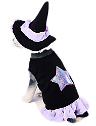 cheap -Dog Halloween Costumes Outfits Wizard Hat Geometric Holiday Halloween Winter Dog Clothes Black Costume Polyster S M L