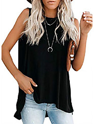 cheap -womens plus size summer crewneck sleeveless tank tops casual loose high low shirts for juniors green x-large 16 18