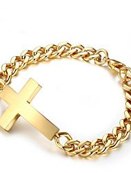 cheap -Men's Chain Bracelet Geometrical Sideways Cross Cross Fashion Stainless Steel Bracelet Jewelry Gold / Silver For Gift Daily