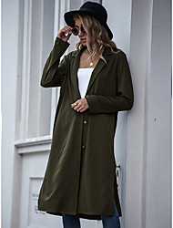 cheap -Women's Knitted Solid Colored Cardigan Long Sleeve Sweater Cardigans Shirt Collar Spring Fall Army Green