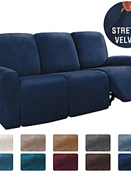 cheap -1 Set of 8 Pieces Easy-Going Microfiber Stretch Sectional Recliner Sofa Slipcover, High Elastic High Quality Velvet Sofa Cover Sofa Slipcover for 3 Seats Cushion Recliner Sofa Furniture Protector