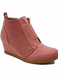 cheap -women& #39;s faux suede pinhole ankle side zipper hidden wedge platform sneakers fashion booties py46 dusty pink 8