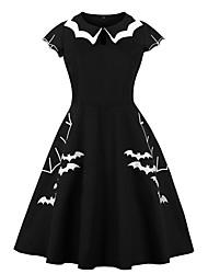 cheap -Women's Halloween A Line Dress Knee Length Dress Black Short Sleeve Bat Print Summer Hot Vintage Cotton 2021 S M L XL XXL