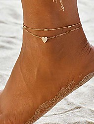 cheap -layered anklets women heart gold ankle bracelet charm beaded dainty foot jewelry for women and teen girls summer barefoot beach anklet