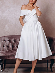 cheap -A-Line Wedding Dresses Off Shoulder Tea Length Satin Sleeveless Vintage Little White Dress 1950s with Pleats 2020