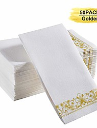 cheap -golden napkins, soft & durable linen feel paper guest bathroom towels also suitable for kitchen, parties, wedding, thanksgiving day and christmas, pack of 50