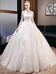 cheap -Ball Gown Wedding Dresses High Neck Cathedral Train Tulle 3/4 Length Sleeve Formal Elegant with Lace Appliques 2020