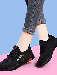 cheap -Women's Trainers Athletic Shoes Flat Heel Round Toe Sporty Casual Daily Outdoor Solid Colored Tissage Volant Running Shoes Fitness & Cross Training Shoes Black / Red Purple