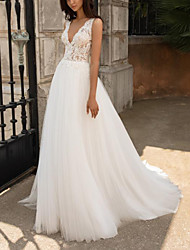 cheap -A-Line Wedding Dresses V Neck Sweep / Brush Train Lace Tulle Sleeveless Beach with Appliques 2021