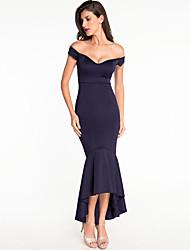 cheap -Women's Sheath Dress Maxi long Dress - Sleeveless Solid Color Patchwork Summer Strapless Elegant 2020 Black Purple Wine S M L XL XXL