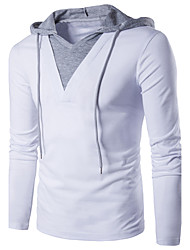 cheap -Men's T shirt Solid Colored Patchwork Long Sleeve Daily Tops Cotton Active Streetwear White Black