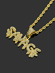 cheap -Men's White AAA Cubic Zirconia Lockets Necklace Cuban Link Letter Hip Hop Alloy Silver Gold 60 cm Necklace Jewelry 1pc For Street Sport