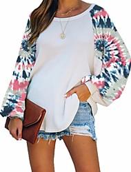 cheap -Women's Pullover Hoodie Sweatshirt Color Block Tie Dye Basic Hoodies Sweatshirts  White Blue