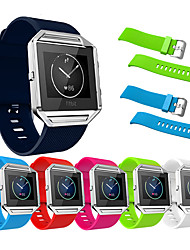 cheap -Silicone Watchband For Fitbit Blaze Smart Fitness Watch Band Replacement Strap and silver Metal Frame Case For Fitbit Blaze