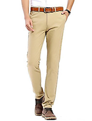 cheap -men's 100% cotton slightly stretchy slim fit casual pants, flat front trousers dress pants for men khaki
