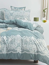 cheap -Blue Lace Pattern Bedding Set Duvet Cover Set Floral Printed Modern Comforter Cover-3 Pieces-Ultra Soft Hypoallergenic Microfiber Include 1 Duvet Cover and 1 or2 Pillowcases