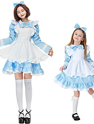 cheap -Maid Costume Dress Cosplay Costume Outfits Group Costume Kid's Adults' Women's Cosplay Vacation Dress Halloween Halloween Festival / Holiday Polyester Black / Blue / Blushing Pink Women's Easy / Bow