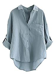 cheap -women's linen blouse high low shirt roll-up sleeve tops blue 2xl