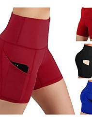 cheap -Women's High Waist Yoga Pants Shorts Butt Lift Black Burgundy Blue Fitness Running Sports Activewear Micro-elastic Slim