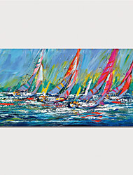cheap -Hand Painted Canvas Oil Painting Abstract Boats Home Decoration With Frame Painting Ready To Hang With Stretched Frame