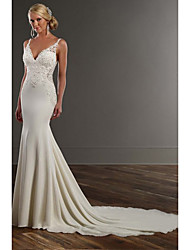 cheap -Mermaid / Trumpet Wedding Dresses V Neck Chapel Train Lace Stretch Satin Spaghetti Strap See-Through Beautiful Back with Appliques 2020