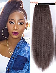 cheap -long ponytail extensions for black women synthetic 24 inch yaki curly wrap around mixed brown ponytail light kinky wave ponytail hairpiece magic paste