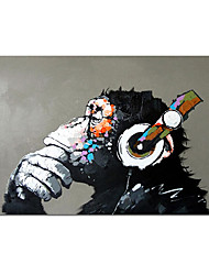 cheap -100% Hand painted Headphone Music Monkey Abstract Canvas Painting Quadros Wall Art Animal Picture For Living Room Decor Cuadros Rolled Without Frame