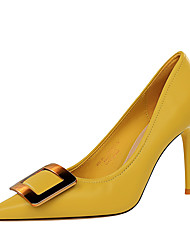 cheap -Women's Heels Stiletto Heel Pointed Toe Sexy Party & Evening Solid Colored PU Almond / Black / Yellow