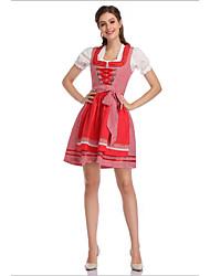 رخيصةأون -مهرجان أكتوبرفست Trachtenkleider نسائي بلايز فستان مئزر البافارية كوستيوم أحمر أزرق