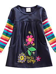 cheap -Kids Little Girls' Dress Blue Rainbow Striped Embroidered Navy Blue Knee-length Long Sleeve Flower Active Dresses Children's Day Regular Fit