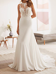 cheap -Mermaid / Trumpet Wedding Dresses Jewel Neck Court Train Lace Stretch Satin Sleeveless Country with Appliques 2020