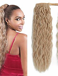 cheap -corn wave ponytail extension long ponytail extension curly wavy synthetic drawstring ponytail magic paste black wrap around clip in ponytail hairpiece(24/613#)