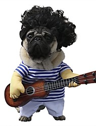 cheap -Dog Cat Pets Halloween Costumes Costume Guitarist Player Guitar Funny Halloween Winter Dog Clothes Puppy Clothes Dog Outfits Blue Costume Baby Small Dog for Girl and Boy Dog Polyster M L XL