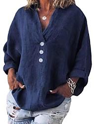 cheap -Women's Blouse Shirt Plain Solid Colored Long Sleeve Button V Neck Basic Tops Blue Orange Green