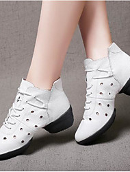 cheap -Women's Dance Shoes Jazz Shoes / Practice Trainning Dance Shoes Heel Sided Hollow Out Thick Heel White / Black / Performance