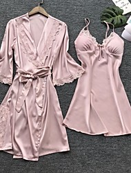 cheap -Women's Lace Bow Mesh Robes Suits Nightwear Patchwork Jacquard Embroidered Red / Blushing Pink / Khaki S M L