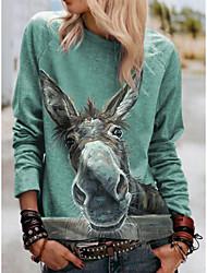 cheap -Women's Blouse Shirt Graphic Prints Long Sleeve Print Round Neck Tops Loose Basic Basic Top Green
