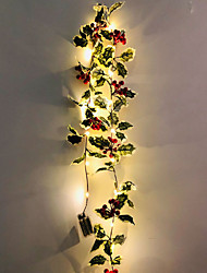 cheap -2M 20LEDs Christmas Red Fruit Vine Leaves LED String Lights Thanksgiving Christmas Party Window Garden Decoration No Battery Delivery
