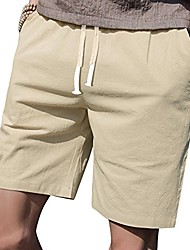 """cheap -mens casual shorts elastic waist 7"""" inseam with drawstring slim fit summer pants with pockets& #40;burgundy,m& #41;"""