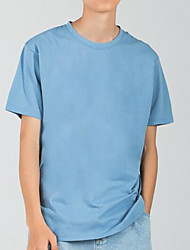 cheap -Men's Daily Solid Color Tops 100% Cotton Lake blue White Black / Summer