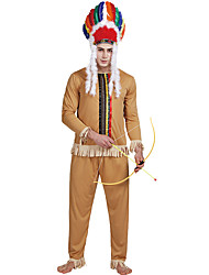 cheap -American Indian Cosplay Costume Outfits Adults' Men's Cosplay Halloween Halloween Festival / Holiday Polyester Brown Men's Easy Carnival Costumes / Top / Pants / Top / Pants