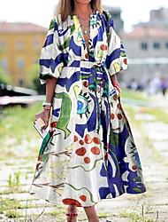 cheap -Women's Swing Dress Maxi long Dress - Half Sleeve Print Print Fall V Neck Hot Casual Loose 2020 White Blue Yellow Light Blue S M L XL XXL