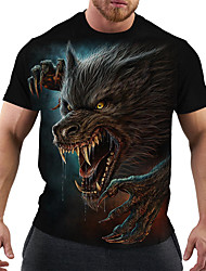 cheap -Men's T shirt Graphic Animal Plus Size Print Short Sleeve Club Tops Rock Punk & Gothic Black