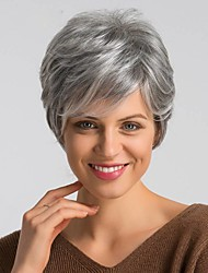 cheap -Human Hair Blend Wig Short Pixie Cut Dark Gray Mixed Color Fashionable Design Easy dressing Comfortable Capless Women's Black / Grey 6 inch 8 inch / Natural Hairline